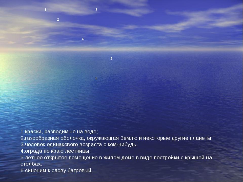 краски, разводимые на воде; газообразная оболочка, окружающая Землю и некотор...