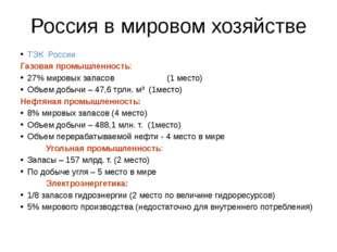 Россия в мировом хозяйстве ТЭК России Газовая промышленность: 27% мировых зап