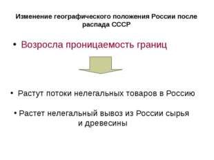 Изменение географического положения России после распада СССР Возросла прониц