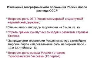 Изменение географического положения России после распада СССР Возросла роль Э