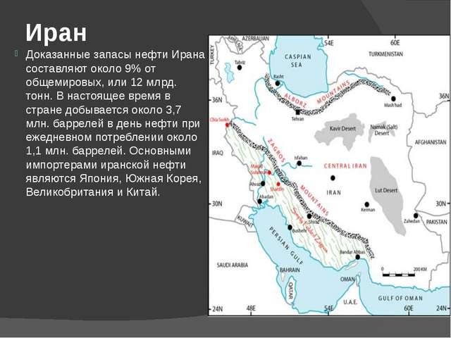 Иран Доказанные запасы нефти Ирана составляют около 9% от общемировых, или 12...