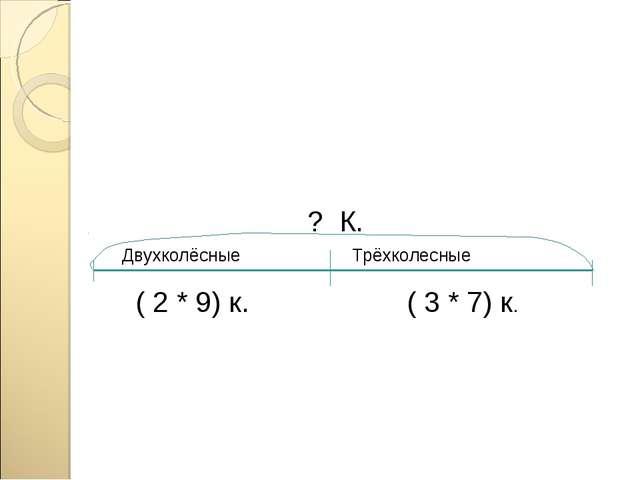 Двухколёсные Трёхколесные ( 2 * 9) к. ( 3 * 7) к. ? К.