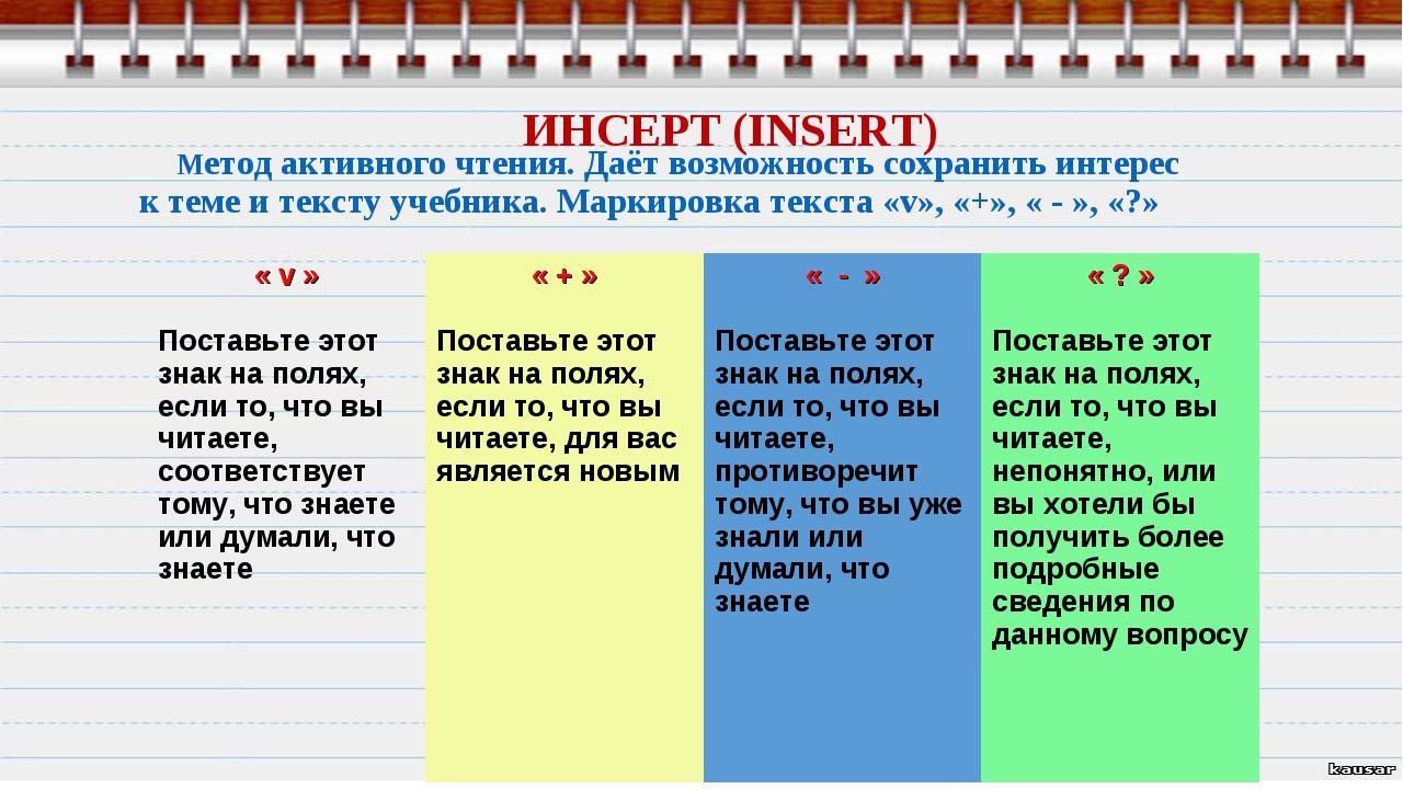 ИНСЕРТ (INSERT) Метод активного чтения. Даёт возможность сохранить интерес к...