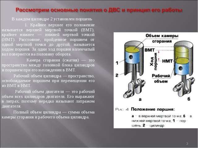* В каждом цилиндре 2 установлен поршень 1. Крайнее верхнее его положение наз...