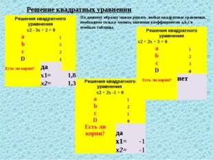 Решение квадратных уравнении