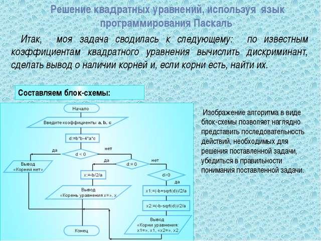 Решение квадратных уравнений, используя  язык программирования Паскаль   &nb...