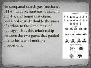 He compared marsh gas (methane, CH 4 ) with olefiant gas (ethane, C 2 H 4 ),