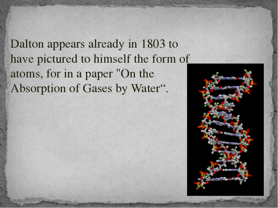 Dalton appears already in 1803 to have pictured to himself the form of atoms...
