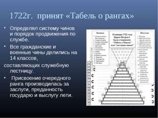1722г. принят «Табель о рангах» Определял систему чинов и порядок продвижения