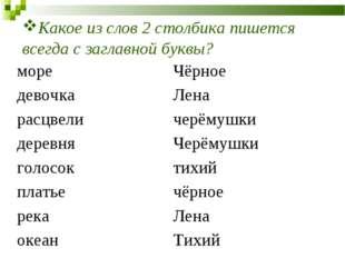 Какое из слов 2 столбика пишется всегда с заглавной буквы? мореЧёрное девочк