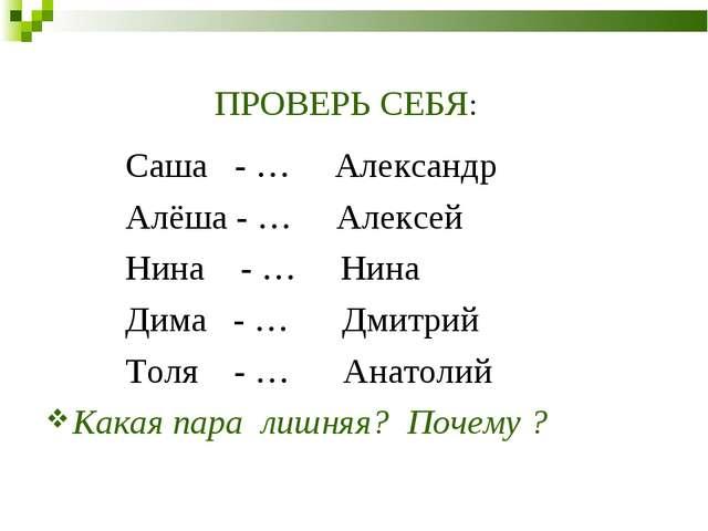ПРОВЕРЬ СЕБЯ: Саша - … Александр Алёша - … Алексей Нина - … Нина Дима - … Дми...