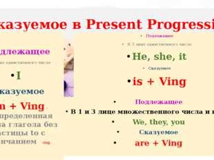 Сказуемое в Present Progressive Подлежащее В 3 лице единственного числа He, s