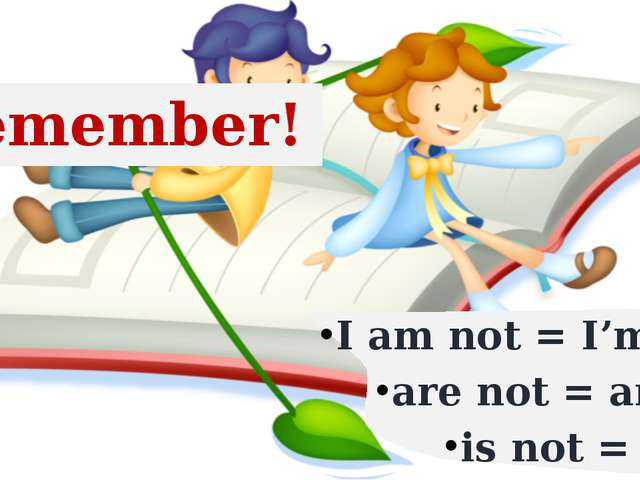 I am not = I'm not are not = aren't is not = isn't Remember!