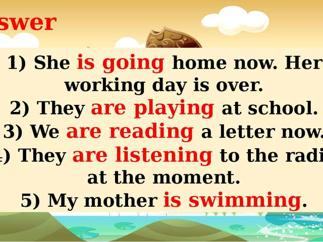 Answer Jack and Jill are swimming now. Ann is playing volleyball. Peter is dr...
