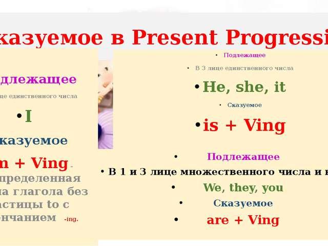 Сказуемое в Present Progressive Подлежащее В 3 лице единственного числа He, s...