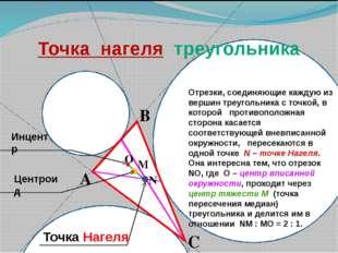А В С М N Инцентр Центроид Точка Нагеля Отрезки, соединяющие каждую из верши
