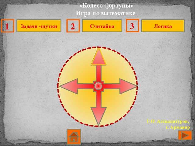 «Колесо фортуны» Игра по математике Г.О. Аствацатуров, г. Армавир Задачи -шу...