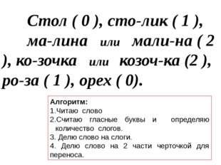 Стол ( 0 ), сто-лик ( 1 ), ма-лина или мали-на ( 2 ), ко-зочка или козоч-ка
