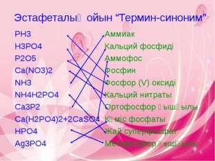 "Эстафеталық ойын ""Термин-синоним"" PH3 Аммиак H3PO4 Кальций фосфиді P2O5 Аммоф"