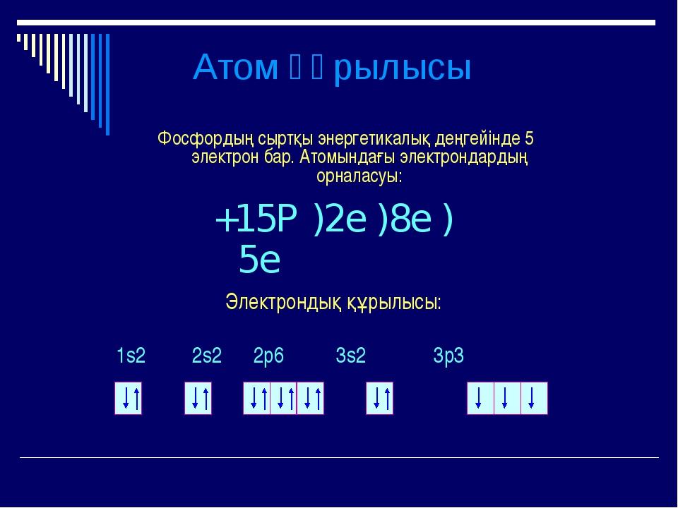 Атом құрылысы Фосфордың сыртқы энергетикалық деңгейінде 5 электрон бар. Атомы...