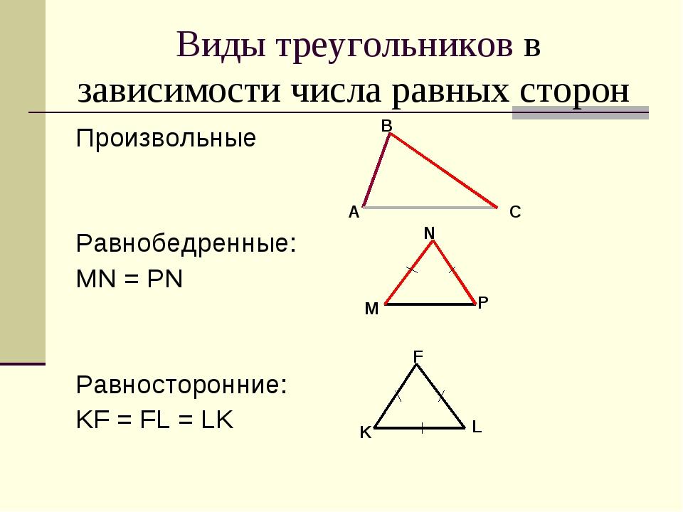 Виды треугольников в зависимости числа равных сторон Произвольные Равнобедрен...