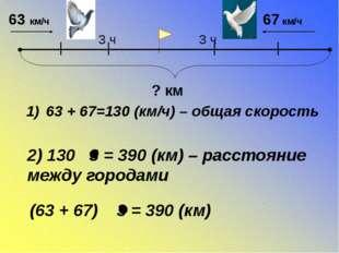 63 + 67=130 (км/ч) – общая скорость 2) 130 3 = 390 (км) – расстояние между г
