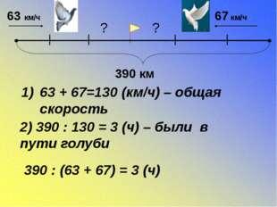 63 км/ч 67 км/ч 390 км 63 + 67=130 (км/ч) – общая скорость 2) 390 : 130 = 3