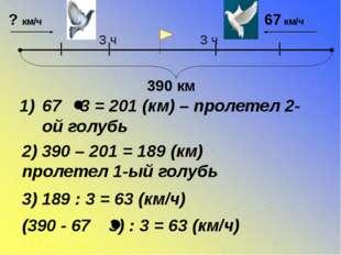 67 3 = 201 (км) – пролетел 2-ой голубь 2) 390 – 201 = 189 (км) пролетел 1-ый