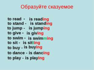 Образуйте сказуемое to read - is reading to stand - is standing to jump - is