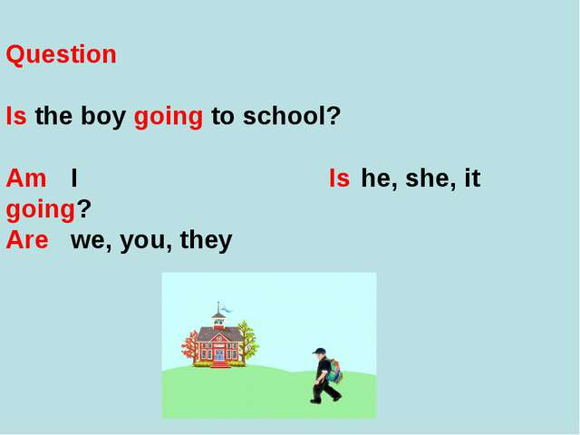 Question Is the boy going to school? Am	 I Is	 he, she, it 	going? Are	 we, y...