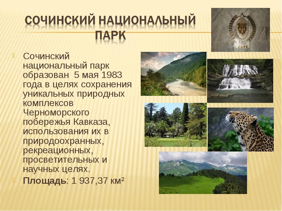 Сочинский национальный парк образован 5 мая 1983 года в целях сохранения уник...