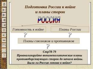 Подготовка России к войне и планы сторон Готовность к войне Планы России Пла