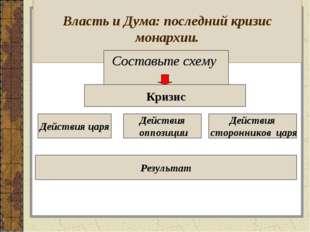 Власть и Дума: последний кризис монархии. Составьте схему Кризис Действия оп