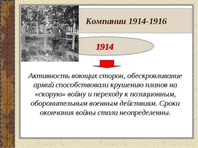 Компании 1914-1916 1914 Активность воющих сторон, обескровливание армий спос...