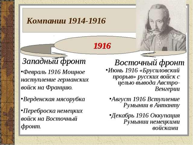 Компании 1914-1916 1916 Западный фронт Восточный фронт Февраль 1916 Мощное н...