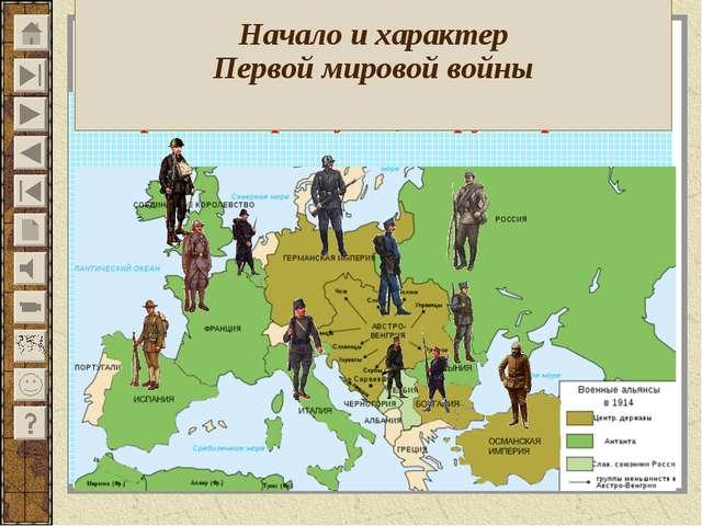 Противоборствующие группировки Начало и характер Первой мировой войны