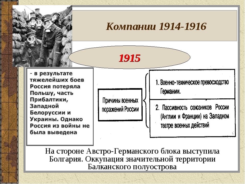 Компании 1914-1916 На стороне Австро-Германского блока выступила Болгария. О...