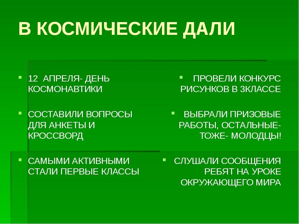 В КОСМИЧЕСКИЕ ДАЛИ 12 АПРЕЛЯ- ДЕНЬ КОСМОНАВТИКИ СОСТАВИЛИ ВОПРОСЫ ДЛЯ АНКЕТЫ...