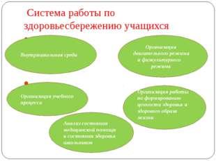 Система работы по здоровьесбережению учащихся Внутришкольная среда Организац