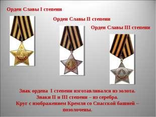 Орден Славы I степени Орден Cлавы II степени Орден Славы III степени Знак орд