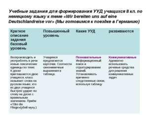 Учебные задания для формирования УУД учащихся 8 кл. по немецкому языку к теме