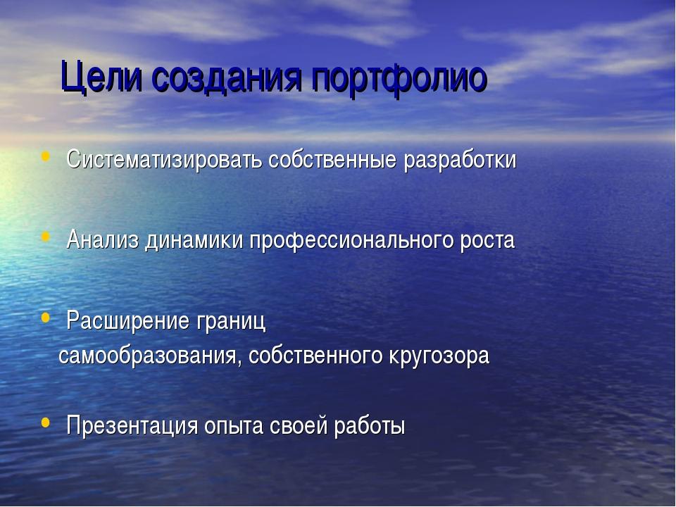 Цели создания портфолио Систематизировать собственные разработки Анализ дина...