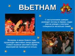 ВЬЕТНАМ Вечером, в канун Нового года, происходят массовые танцы дракона. Самы
