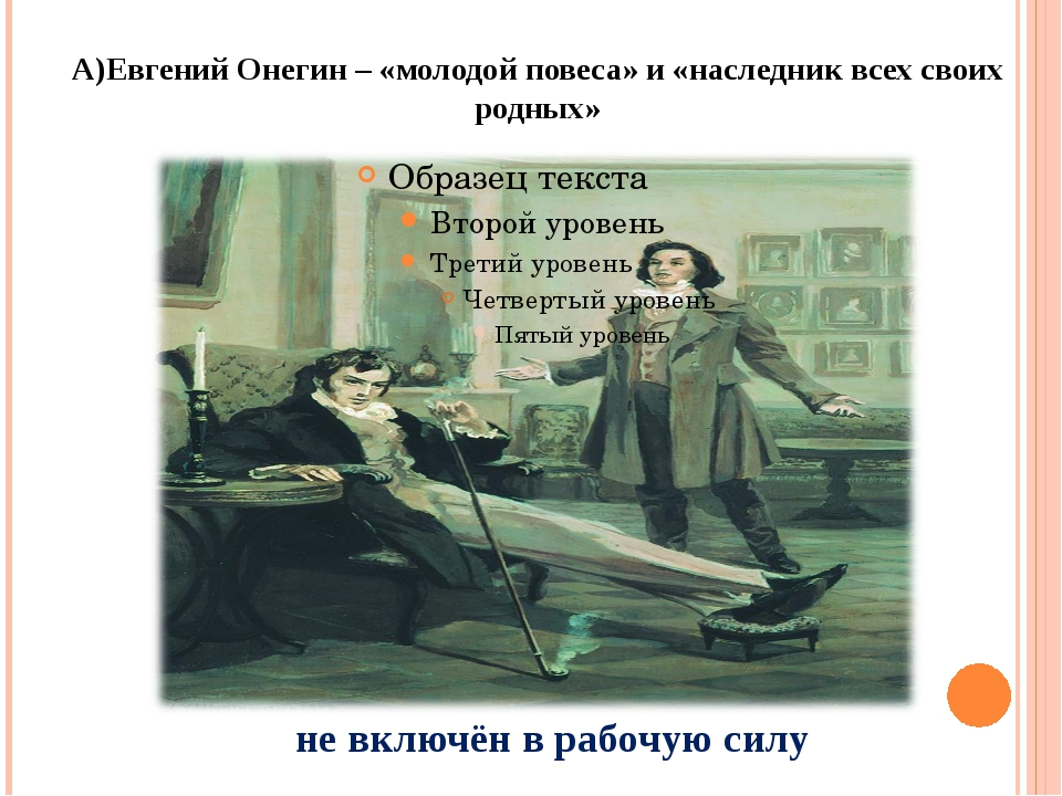 А)Евгений Онегин – «молодой повеса» и «наследник всех своих родных» не включё...