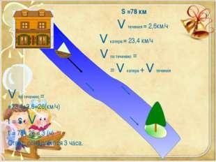 S =78 км V течения = 2,6км/ч V катера = 23,4 км/ч V по течению = = V катера
