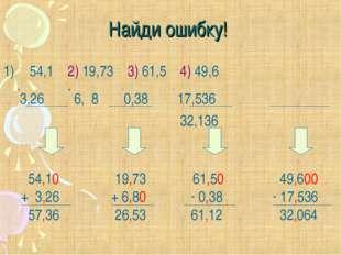 Найди ошибку! 54,1 2) 19,73 3) 61,5 4) 49,6 +3,26 + 6, 8 -0,38 - 17,536 32,13