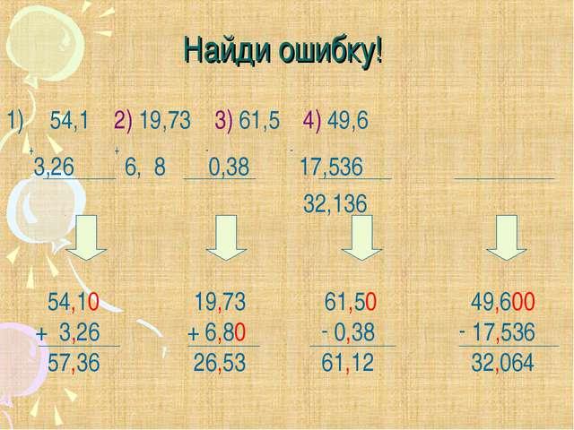 Найди ошибку! 54,1 2) 19,73 3) 61,5 4) 49,6 +3,26 + 6, 8 -0,38 - 17,536 32,13...