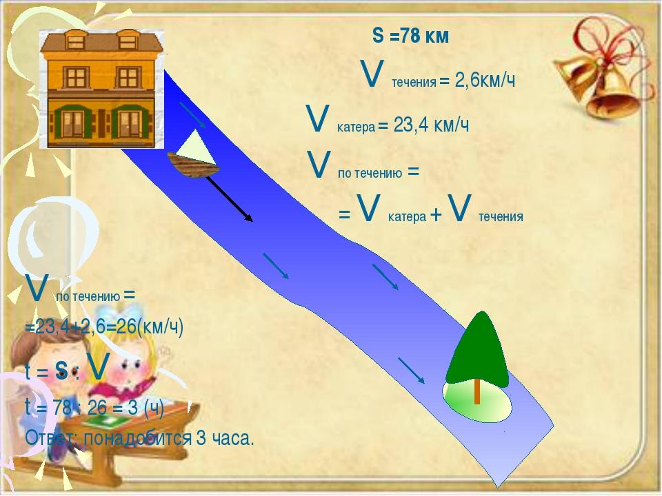 S =78 км V течения = 2,6км/ч V катера = 23,4 км/ч V по течению = = V катера...
