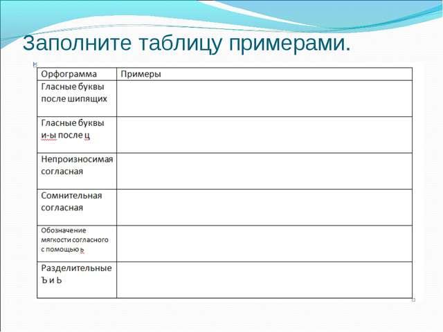 Заполните таблицу примерами.