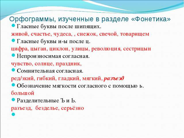 Орфограммы, изученные в разделе «Фонетика» Гласные буквы после шипящих. живо...